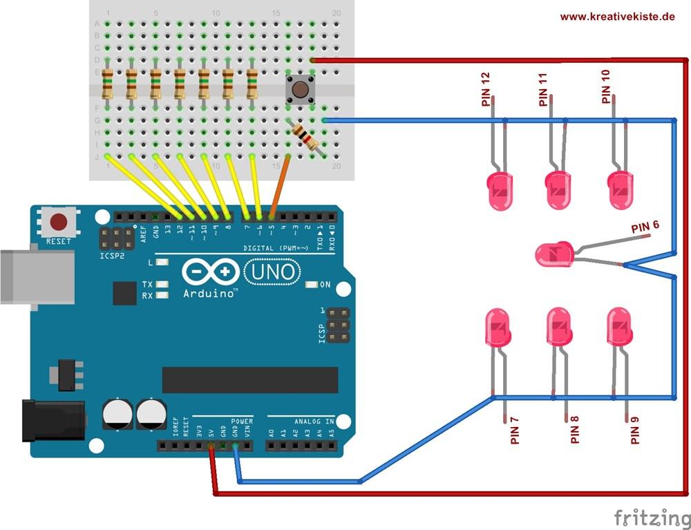 Arduino mini Würfel mit 7 LEDs