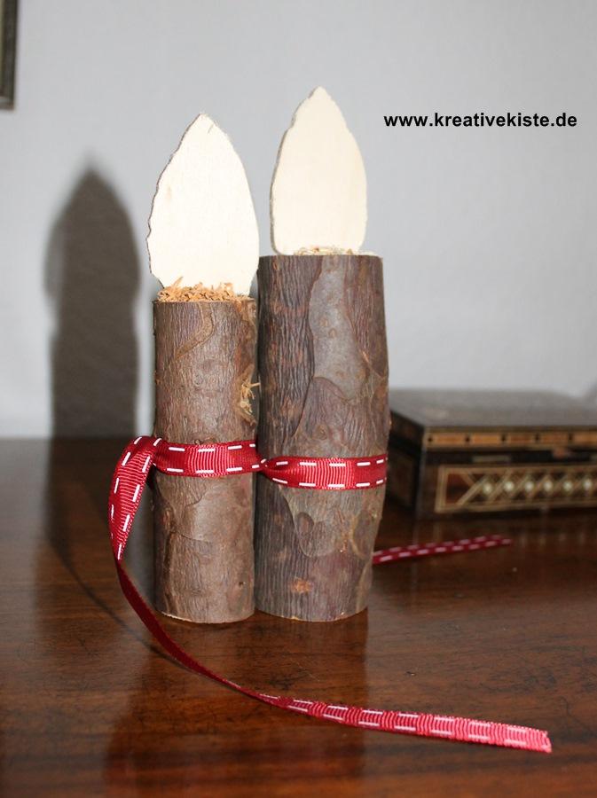 naturholz kerze mit flamme basteln. Black Bedroom Furniture Sets. Home Design Ideas