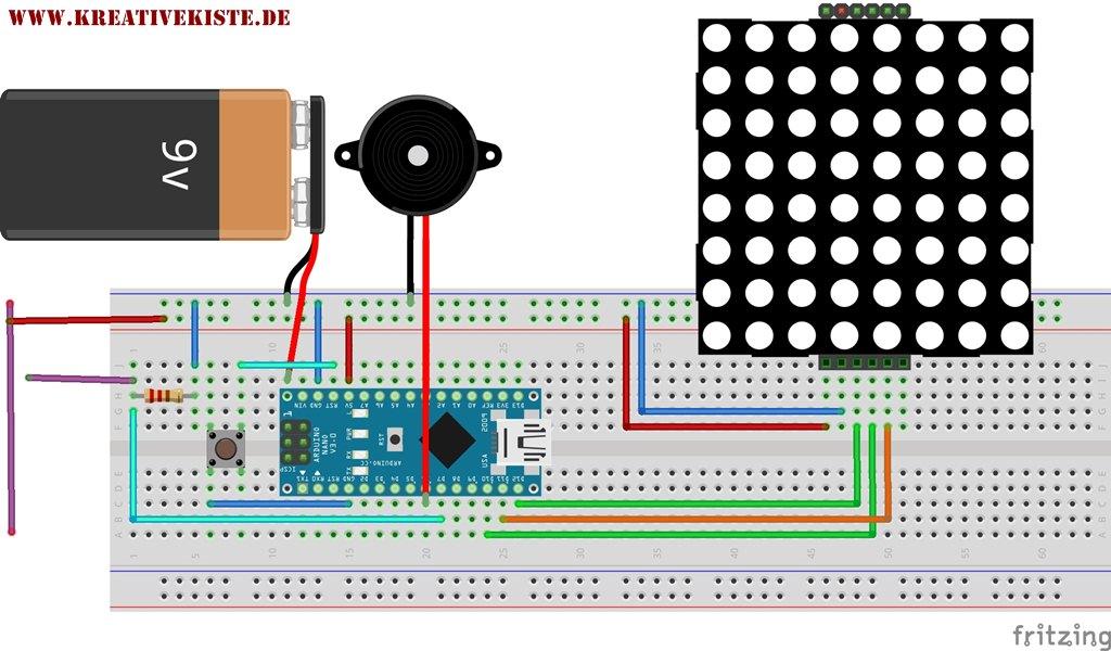 heisser Draht spiel mit 8x8 LED Matrix Arduino Code